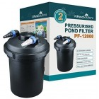 All Pond Solutions Koi Fish Pond Pressurised Filter and UV Steriliser Light for Ponds, 12000 Litre