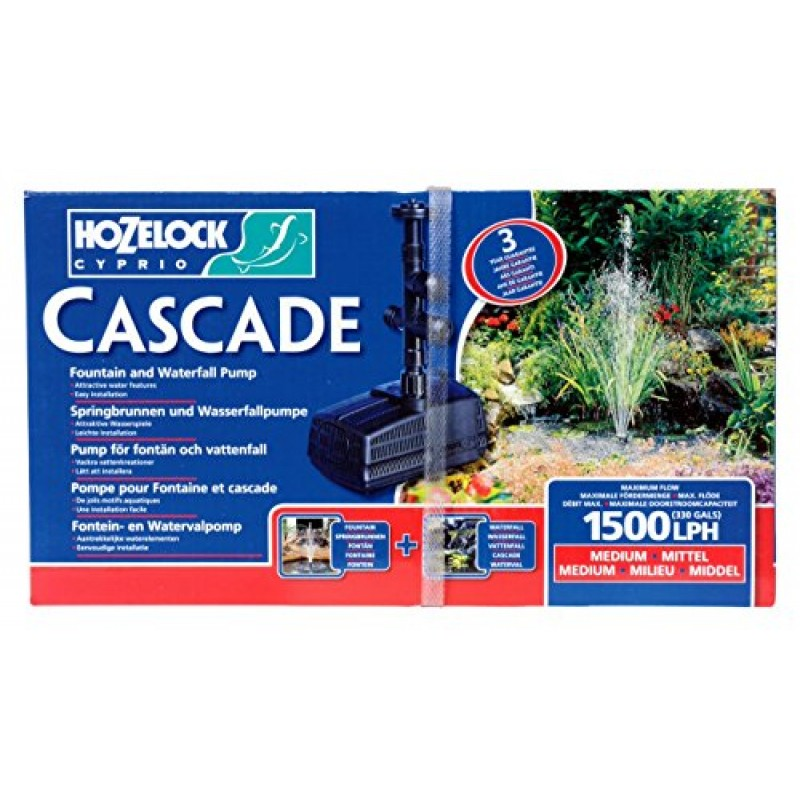 Hozelock 3354 1500lph cascade waterfall and fountain pump for Pond supply companies