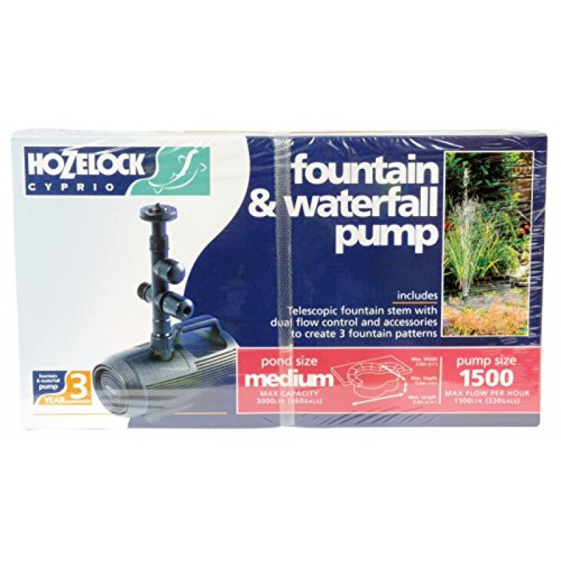 Hozelock cascade fountain and waterfall pump 1500 for Pond supply companies