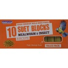 Suet To Go Mealworm Suet Block Wild Bird Treat, 10 x 300 g